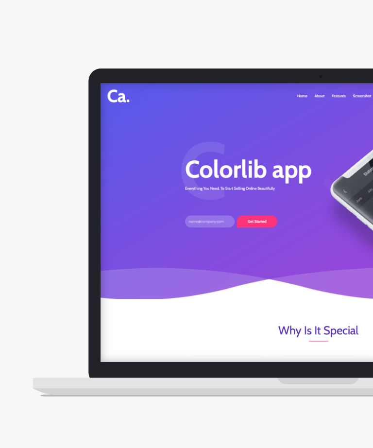 CA App Landing Free responsive HTML5 Bootstrap App template
