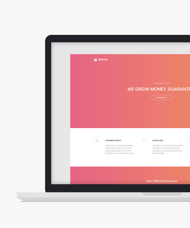 Dinomuz Free responsive HTML5 Bootstrap Landing page template