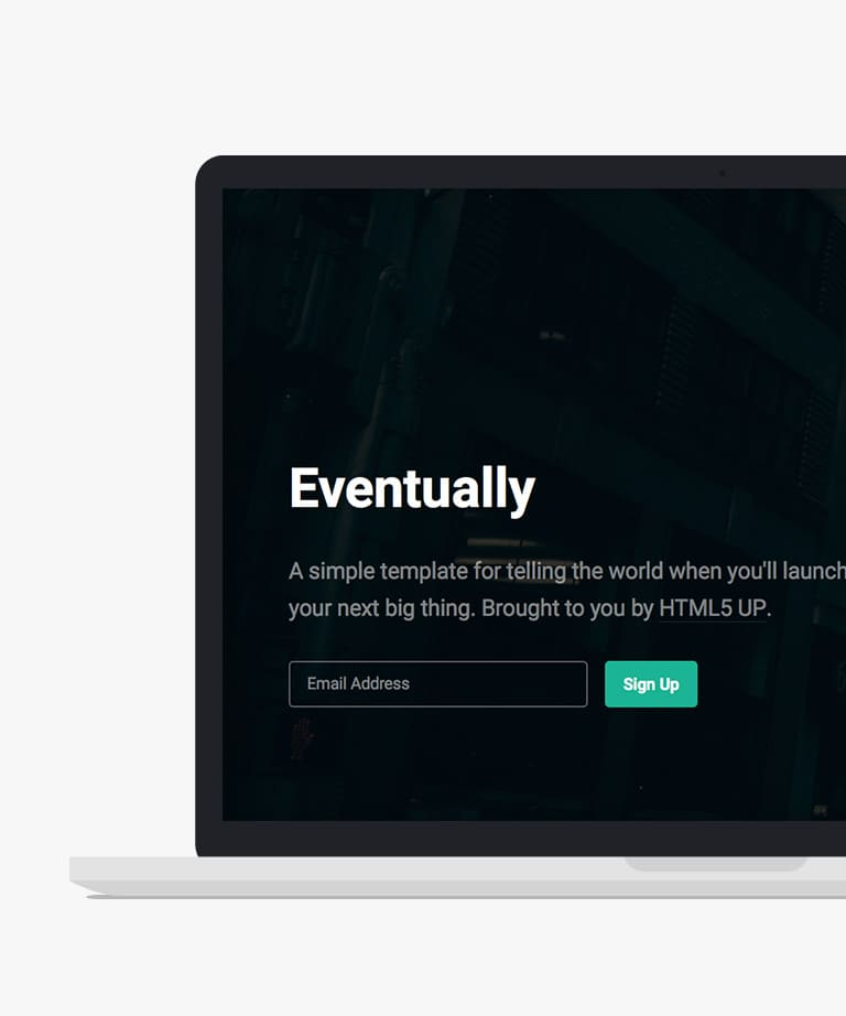 Eventually Free responsive HTML5 Coming Soon template