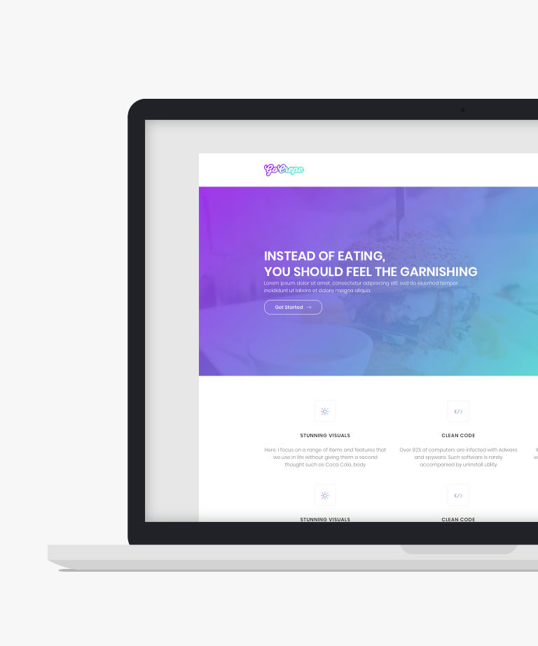 Go Crepe Free responsive HTML5 Bootstrap Landing page template