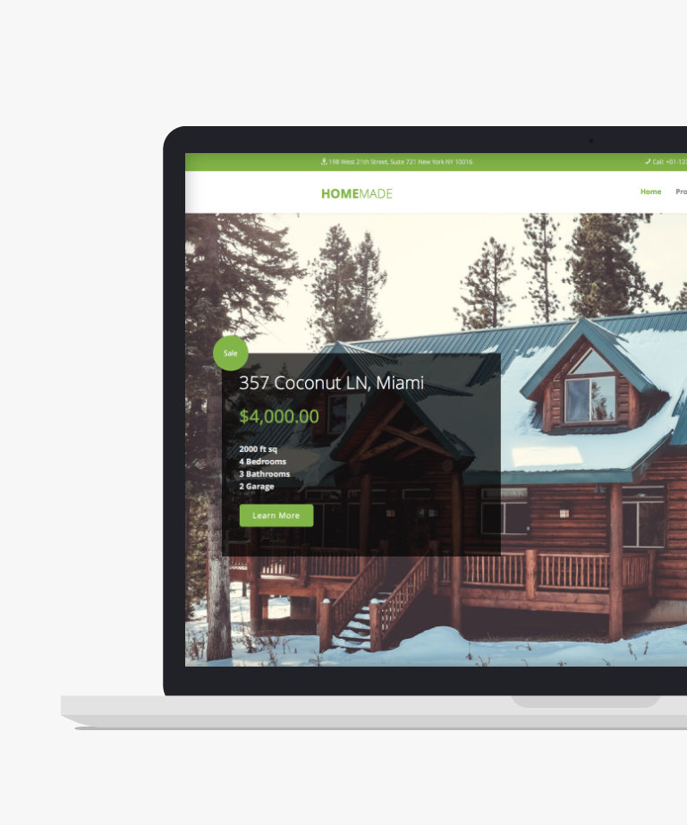 Homemade Free responsive HTML5 Bootstrap Real Estate template