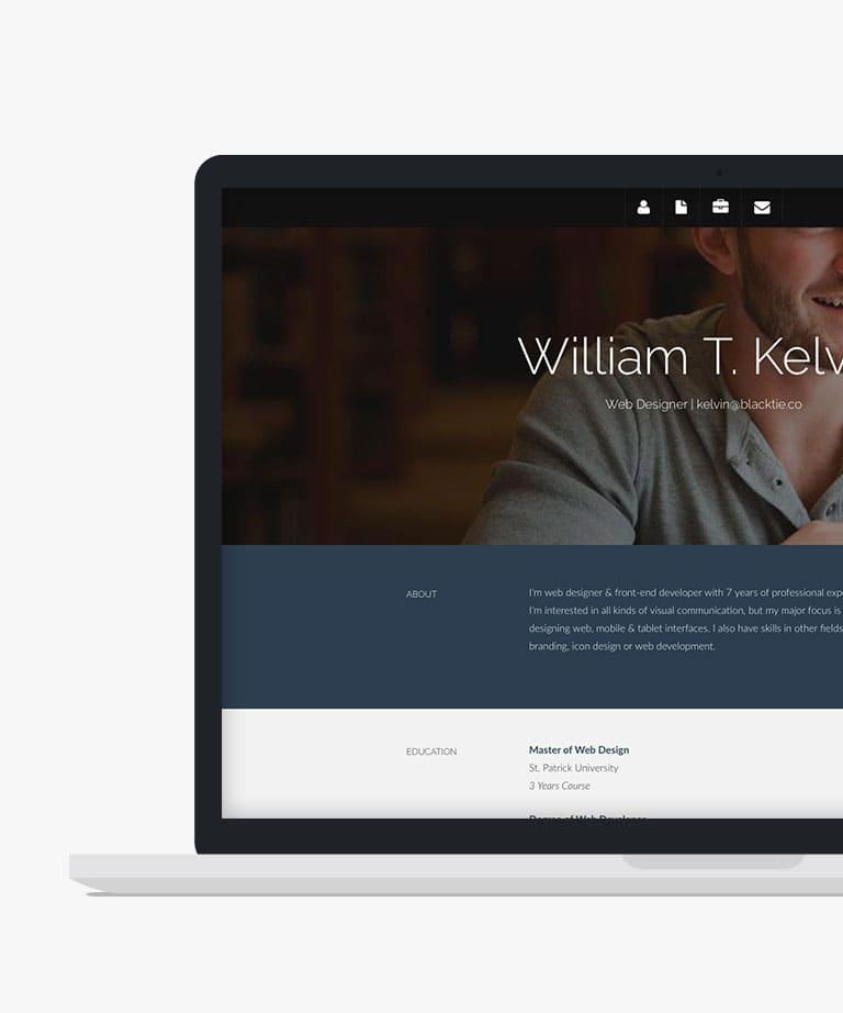 Kelvin Free responsive HTML5 Bootstrap Resume template
