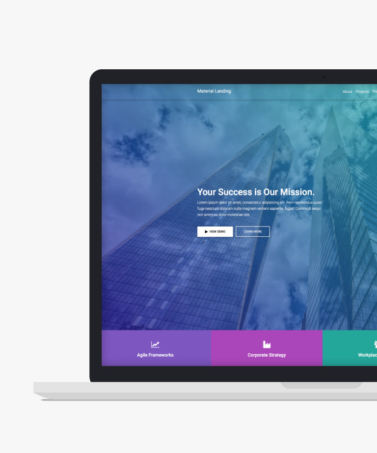 Material Landing Free responsive HTML5 Bootstrap Landing Page template