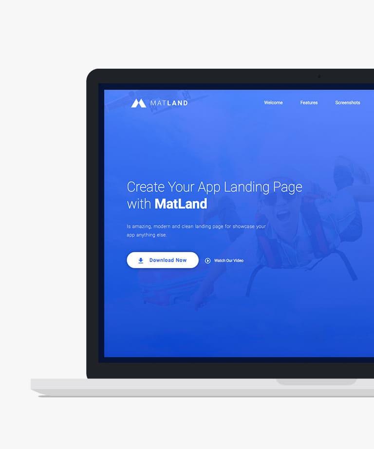 MatLand Responsive HTML5 Bootstrap App Landing template