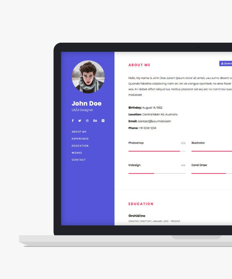 One Page Bootstrap Resume Free responsive HTML5 Bootstrap Personal template
