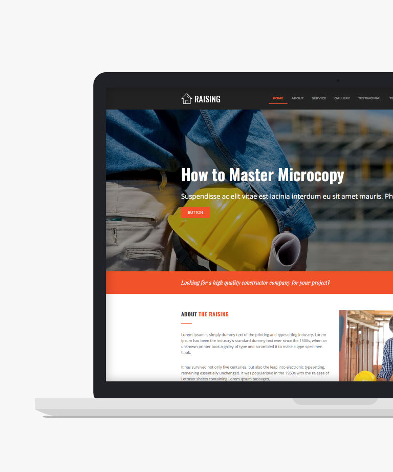 Raising Free responsive HTML5 Bootstrap Construction template