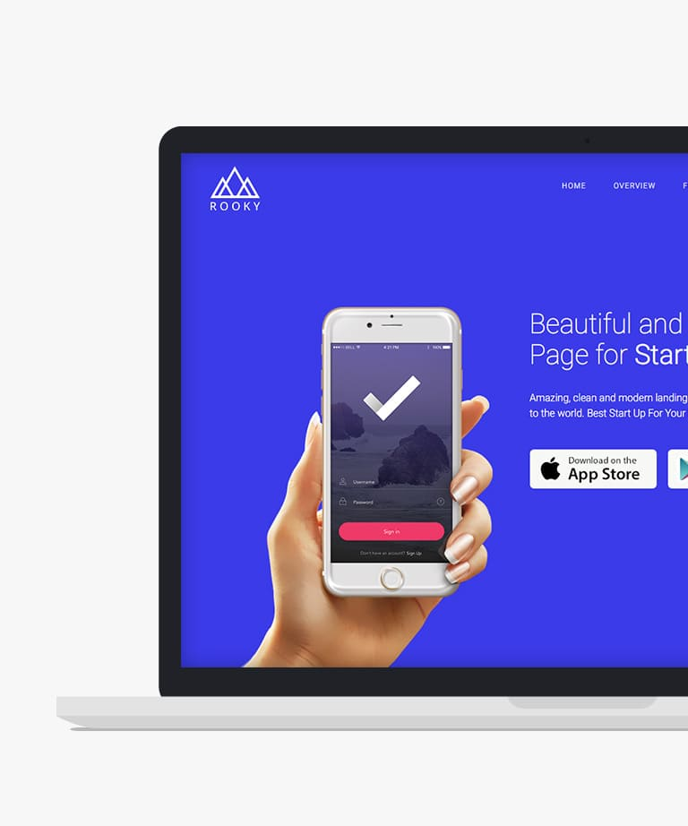 Rooky Free responsive HTML5 Bootstrap App template