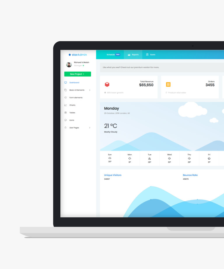 Star admin Free responsive HTML5 Bootstrap Admin template