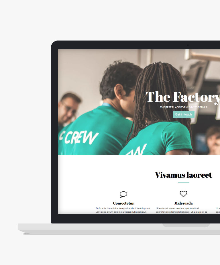 The Factory Free responsive HTML5 Bootstrap Landing page template