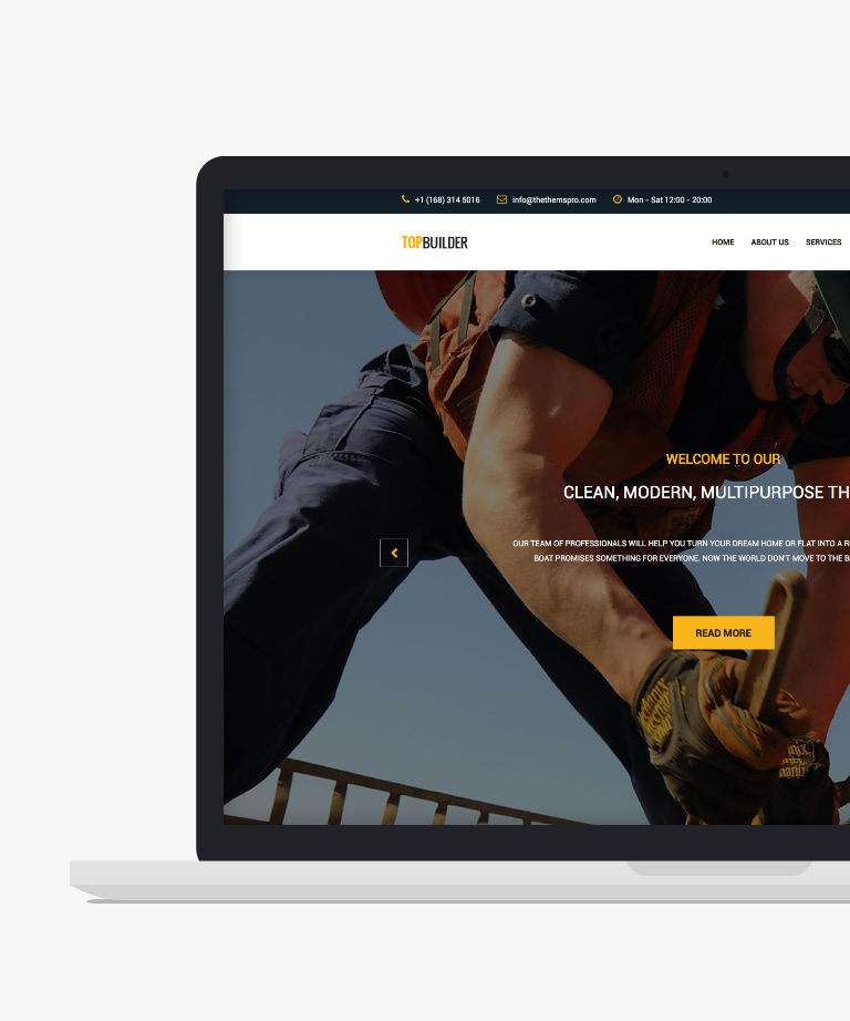 TOPBuilder Free responsive HTML5 Bootstrap Construction template